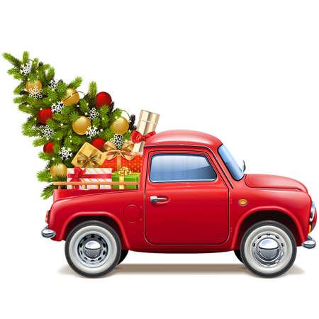 Vector camioneta roja de Navidad aislado sobre fondo blanco.