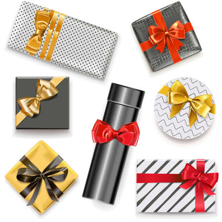 Vector Gift Boxes Icons isolated on white background