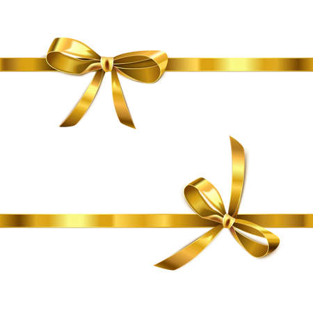 Vector Golden Bow with Ribbon isolated on white background Иллюстрация