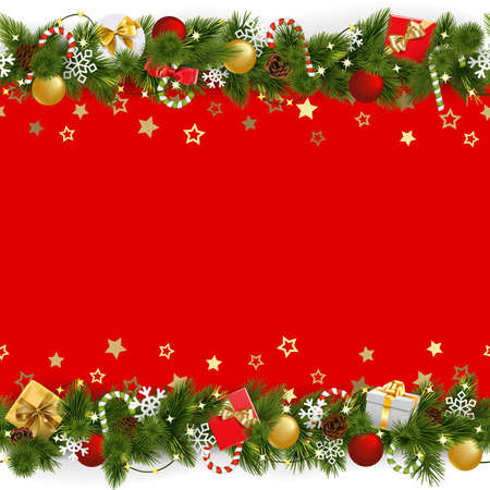 Vector Pine Christmas Background with Garland isolated on white background Иллюстрация