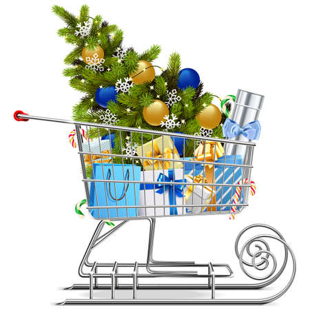 Vector Shopping Sled with Christmas Decorations isolated on white background Vectores