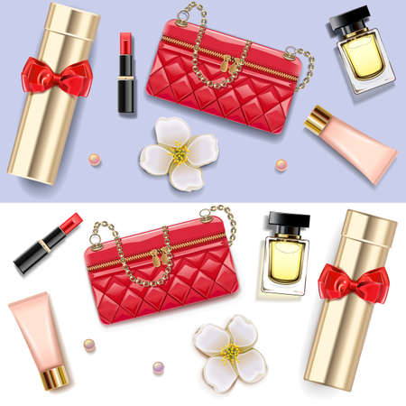 Vector Female Accessories Double Set 1 isolated on white background