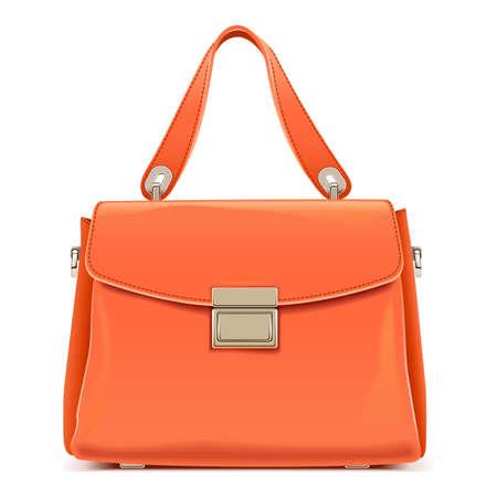 Vector Orange Female Handbag isolated on white background Vettoriali