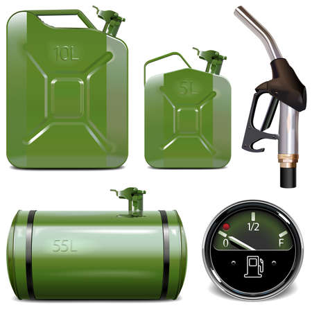 Vector Gasoline Canister Icons isolated on white background