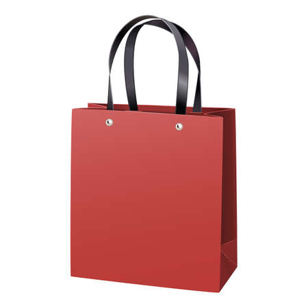 Vector Red Paper Bag isolated on white background Иллюстрация