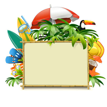 Vector Bamboo Frame with Beach Accessories isolated on white background  イラスト・ベクター素材