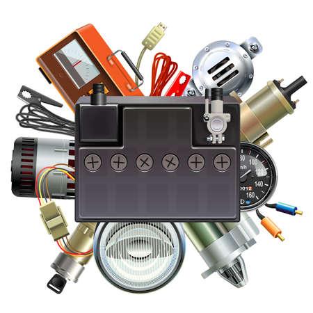 Concetto di parti di automobili di vettore con batteria per auto isolato su sfondo bianco Vettoriali