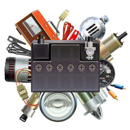 Vector Car Parts Concept with Car Battery isolated on white background Ilustração Vetorial