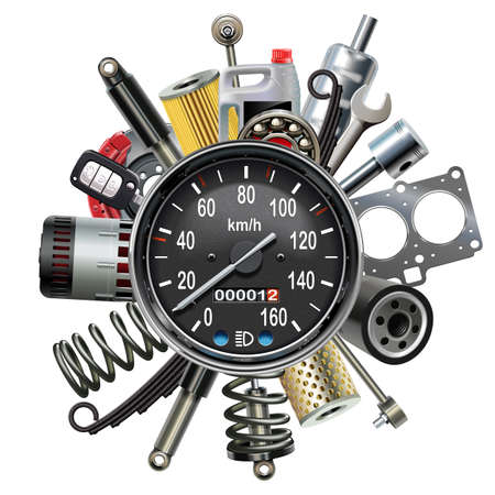 Vector Car Spares Concept with Speedometer isolated on white background
