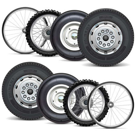 Vector Vehicle Wheels Double Set isolated on white background Иллюстрация