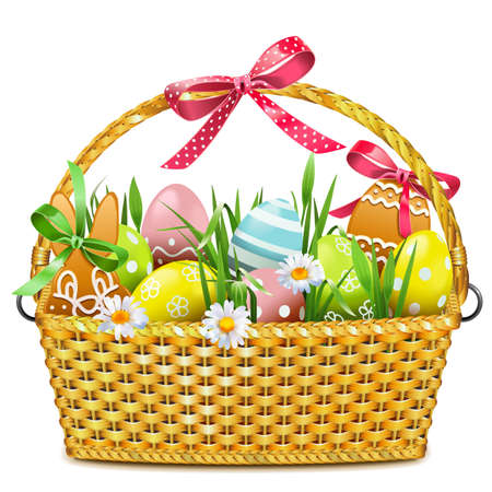Vector Easter Basket isolated on white background Vektorové ilustrace