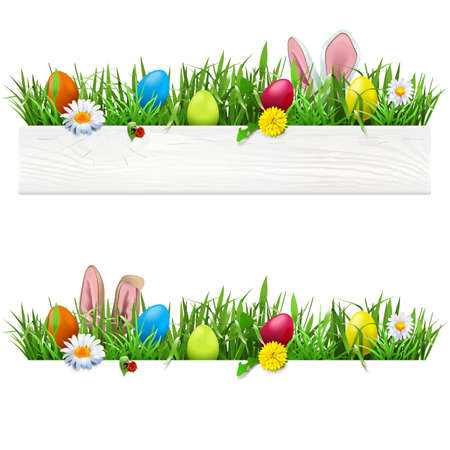 Vector Easter Border with Grass isolated on white background Иллюстрация
