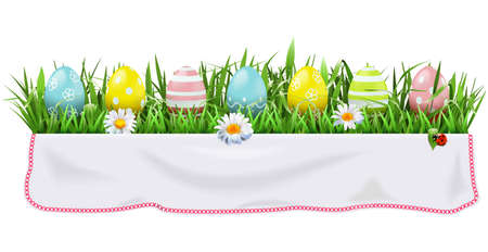 Vector Easter Concept with Tablecloth isolated on white background Stock Illustratie