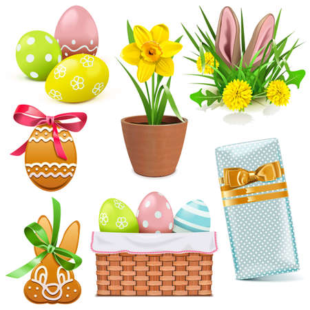 Vector Easter Icons isolated on white background