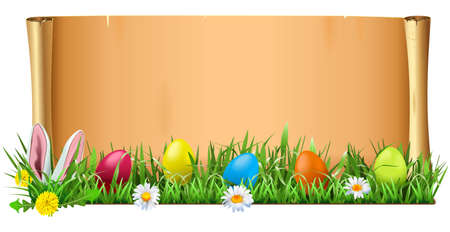 Vector Easter Scroll isolated on white background