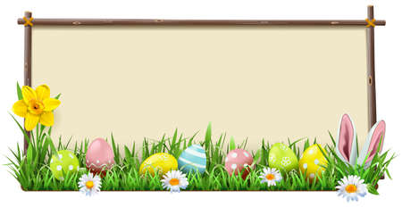 Vector Easter Wooden Frame isolated on white background