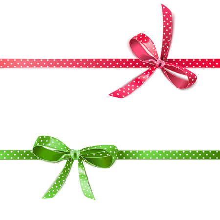 Vector Polka Dot Bow with Ribbon isolated on white background Иллюстрация
