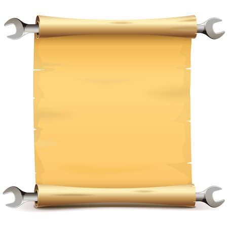 Vectorpapierrol met moersleutel die op witte achtergrond wordt geïsoleerd Vector Illustratie