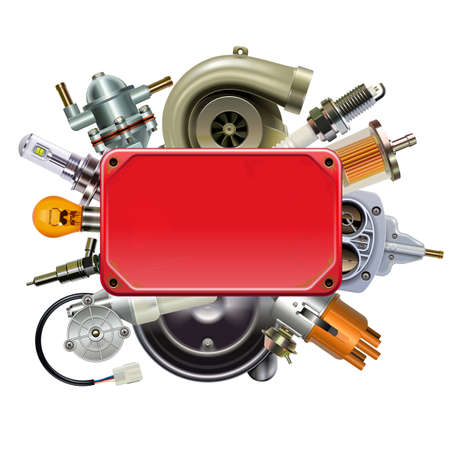 Vector Red Frame with Car Spares isolated on white background