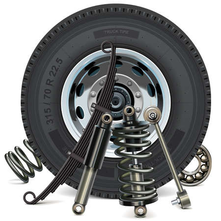 Vector Truck Wheel with Suspension Parts isolated on white background Çizim