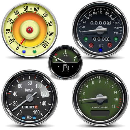 Vektor-Automobil-Tachometer isoliert auf weißem Hintergrund