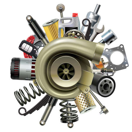 Vector Car Parts with Turbocharger isolated on white background