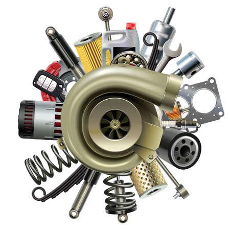Vector de piezas de automóvil con turbocompresor aislado sobre fondo blanco.