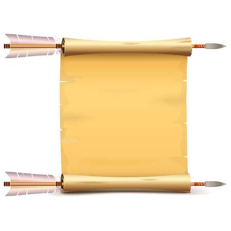 Vector de desplazamiento de papel antiguo con flechas aisladas sobre fondo blanco Ilustración de vector
