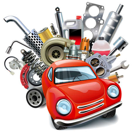 Vector Red Automobile with Car Spares isolated on white background