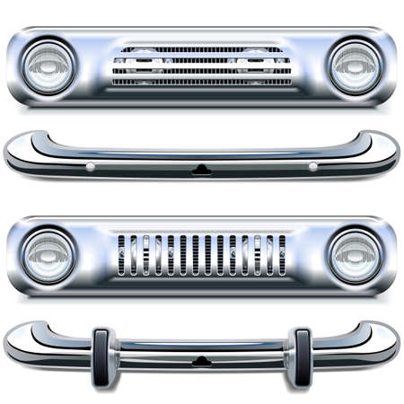 Vector Retro Chrome Bumpers isolated on white background Illustration