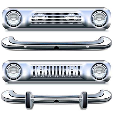 Vector Retro Chrome-bumpers die op witte achtergrond worden geïsoleerd Vector Illustratie