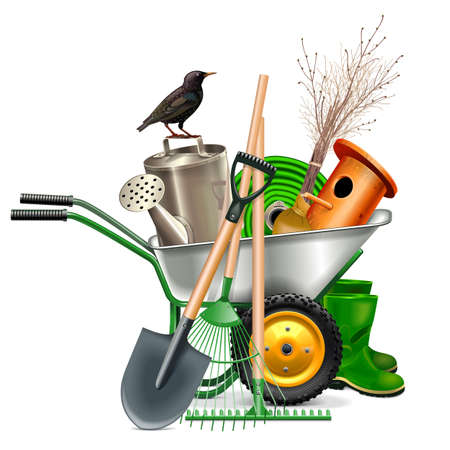 Vector Spring Garden Tools isolated on white background Иллюстрация