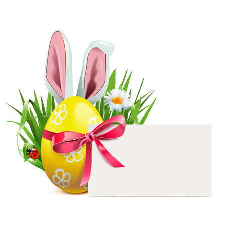 Vector Easter Greeting Postcard isolated on white background Иллюстрация