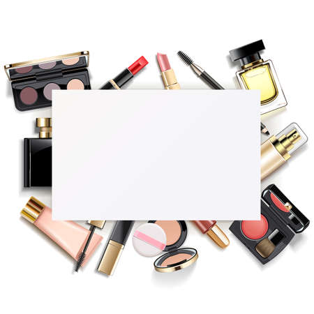 Vector Paper Card with Makeup isolated on white background