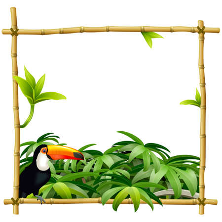 Vector Tropic Bamboo Frame isolated on white background Иллюстрация