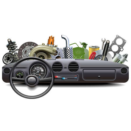 Vector Car Dashboard with Spare Parts isolated on white background