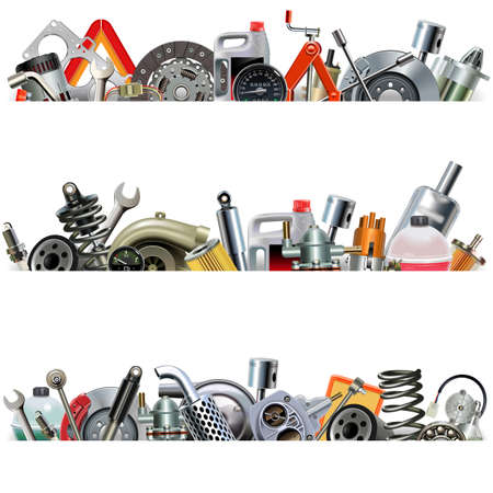 Vector Car Part Borders isolated on white background