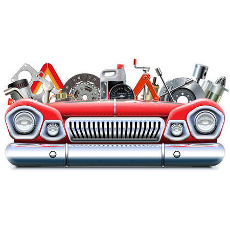 Vector Car Parts with Automotive Front End isolated on white background