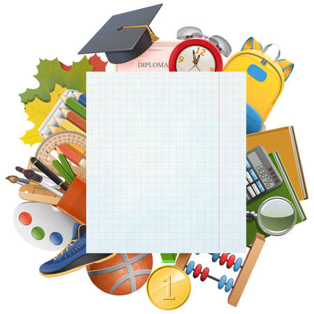 Vector Exercise Book Sheet with School Accessories isolated on white background