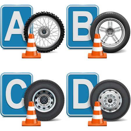 Vektor-Fahrzeugkategorien isoliert auf weißem Hintergrund Vektorgrafik