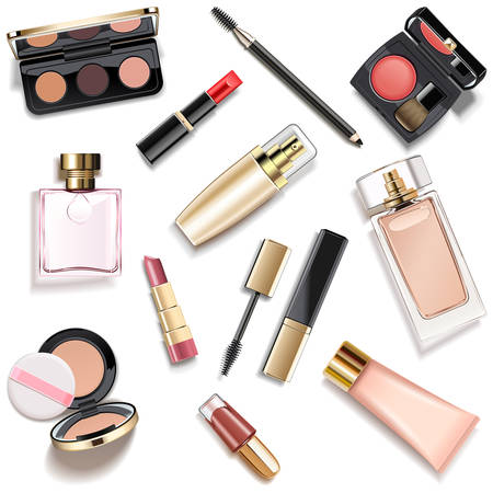 Vector Makeup Cosmetics Collection isolated on white background 写真素材 - 131690005