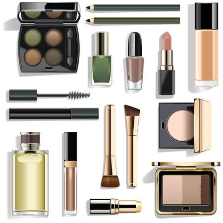 Vector Green Makeup Collection isolated on white background