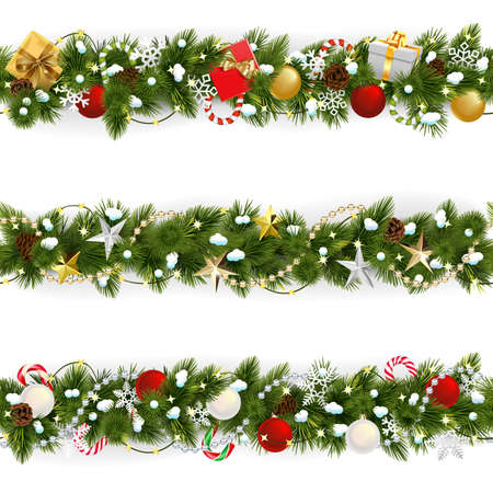 Vector Snowy Christmas Pine Border geïsoleerd op een witte achtergrond Vector Illustratie