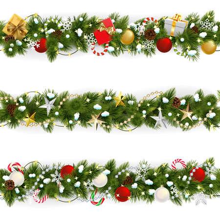 Vector Snowy Christmas Pine Border isolated on white background Ilustração Vetorial
