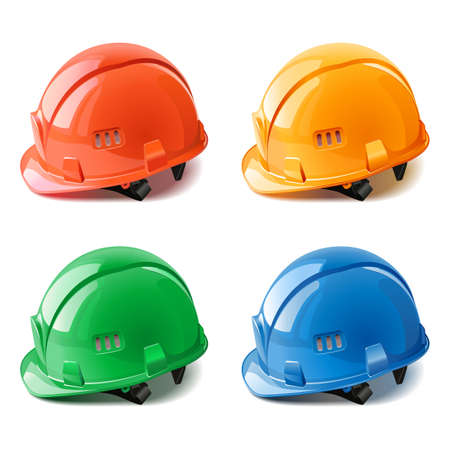 Vector Construction Helmets isolated on white background