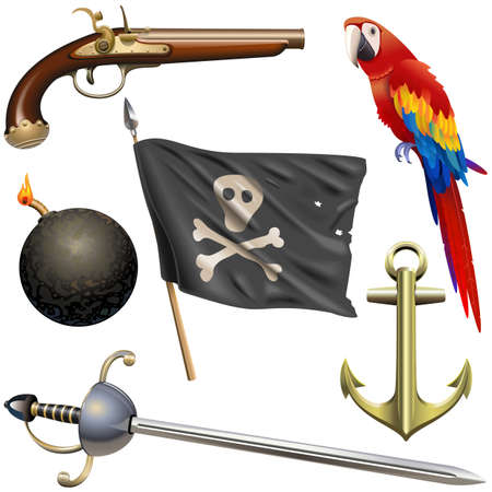 Vector Pirate Accessories Set isolated on white background