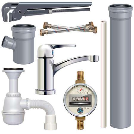 Vektor Sanitärtechnik isoliert auf weißem Hintergrund