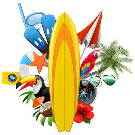 Vector Surfboard with Tropical Concept isolated on white background Ilustrace