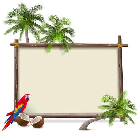 Vector Tropical Resort Frame isolated on white background Illusztráció