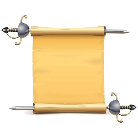 Paper Scroll with Sword isolated on white Ilustracja